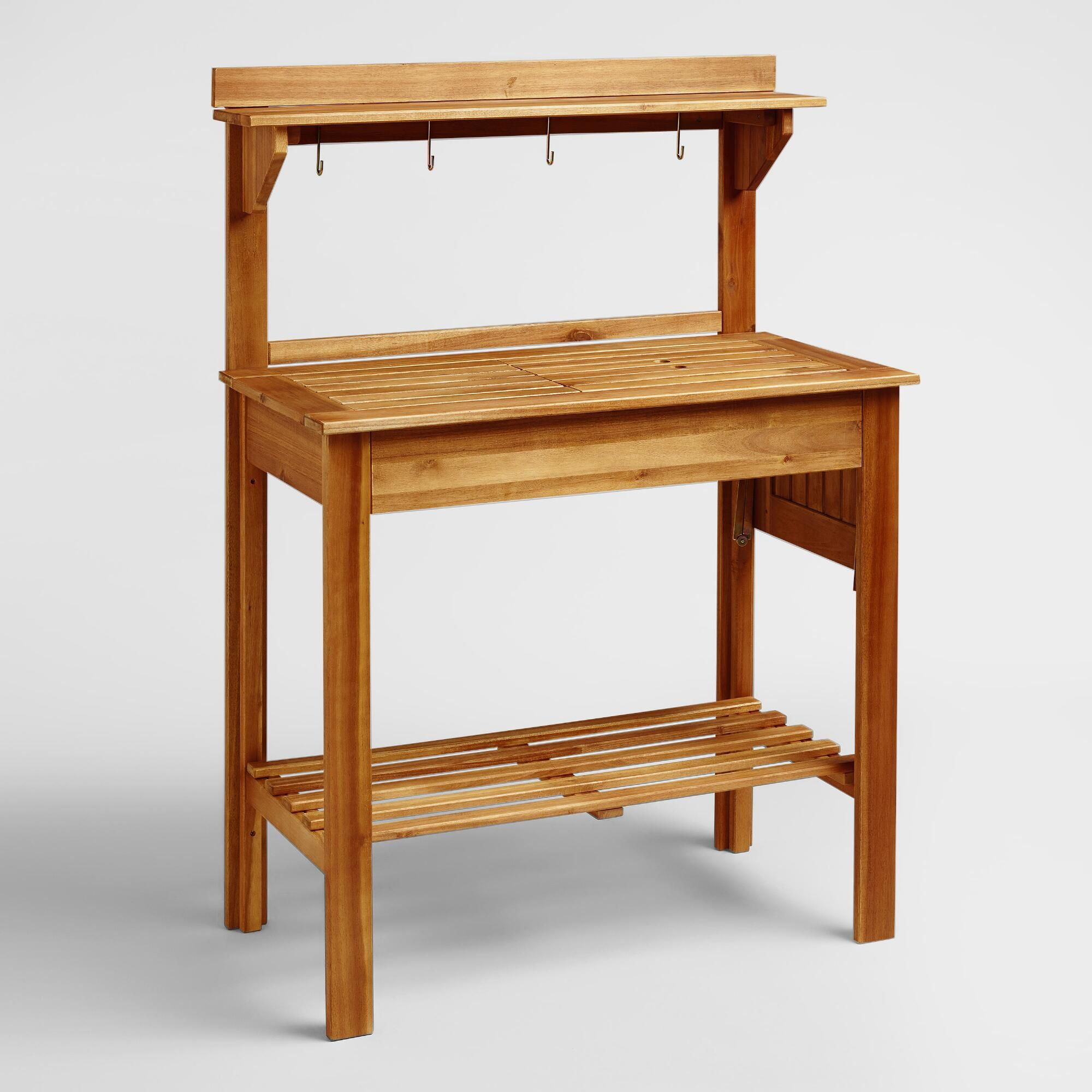 Natural Wood Outdoor Patio Potting Bench By World Market Outdoor Potting Bench Potting Bench Potting Table
