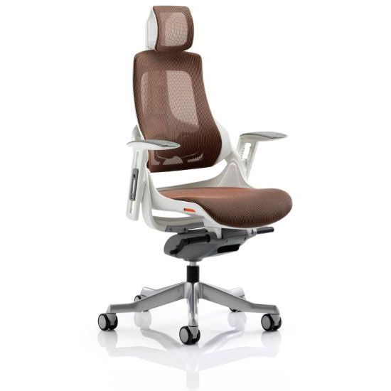 Zeta Desk Chair Grosfillex Plastic Chairs Executive Ergonomic Office In Mandarin Mesh