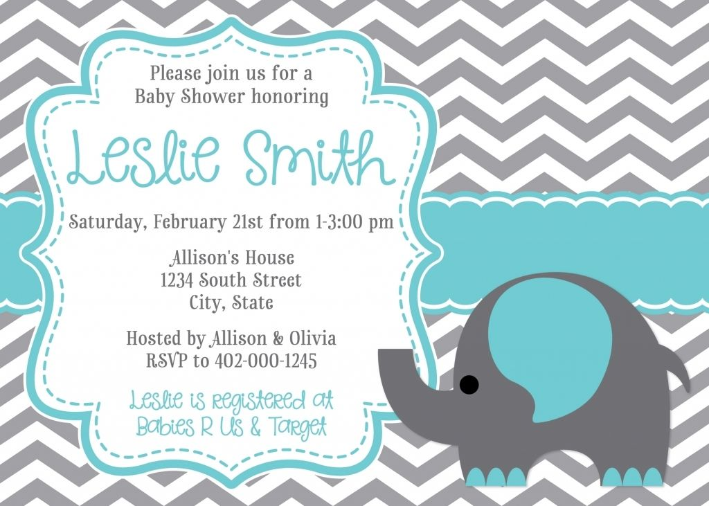 Adorable Baby Shower Invitation Wording Elephant Theme For B Chevron Baby Shower Invitations Printable Baby Shower Invitations Elephant Baby Shower Invitations
