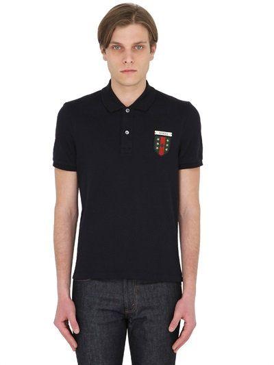 GUCCI Logo Patch Stretch Cotton Piqué Polo, Navy. #gucci #cloth #polos