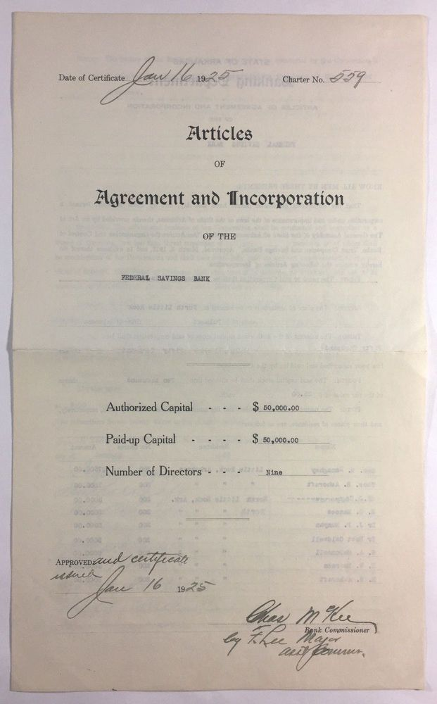 Articles of Agreement and Incorporation of Federal Savings Bank