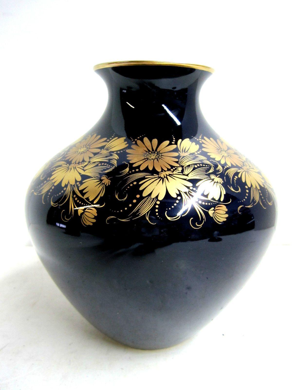 Ornate Vintage C.M. Hutschenreuther Echt Kobalt Blue & Gold Vase Numbered c 1970 | eBay