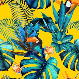 Tropical Wood With Toucans by KSDesigns Seamless Repeat Royalty-Free Stock Pattern