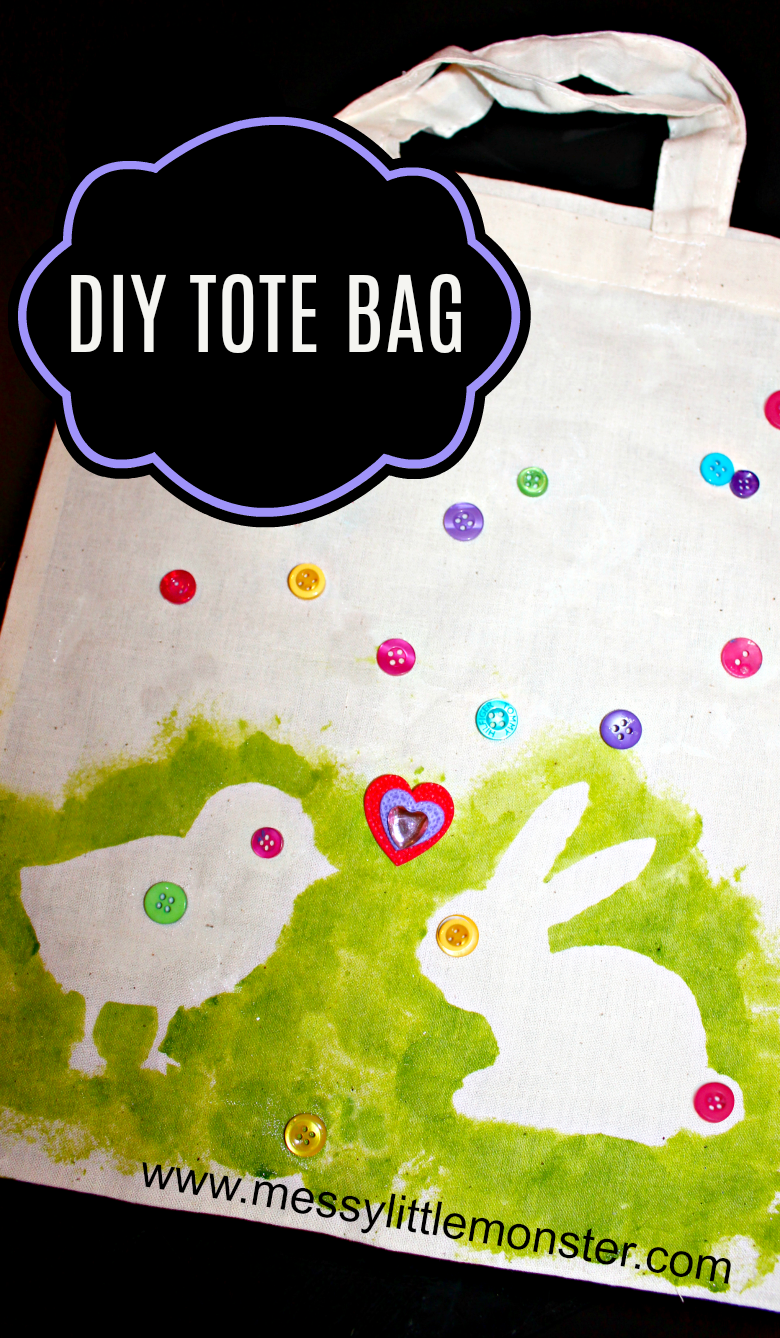fdcc0fde01 This easy DIY Easter tote bag kids craft features a bunny and chick design  which make it a perfect Easter or Spring craft for kids.