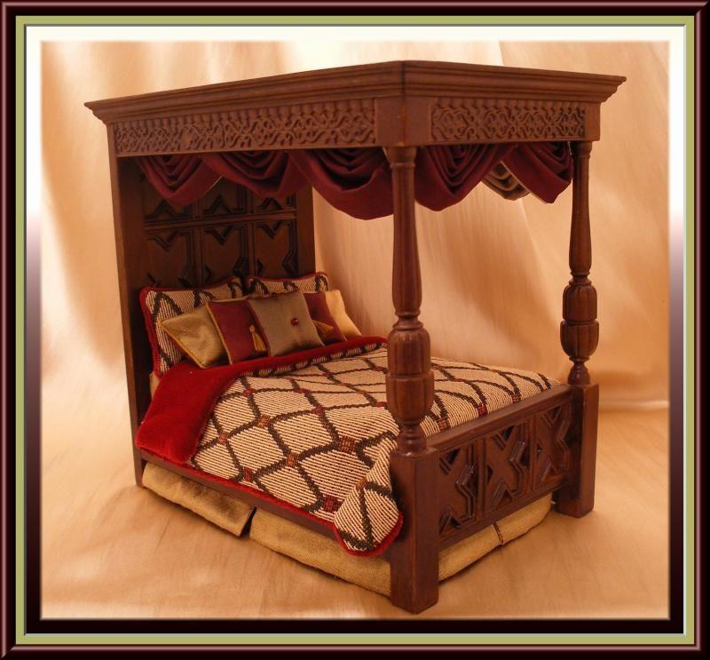 Custom Canopy Bed dollhouse miniature tudor canopy bed - $300.00 : dollhouse linens