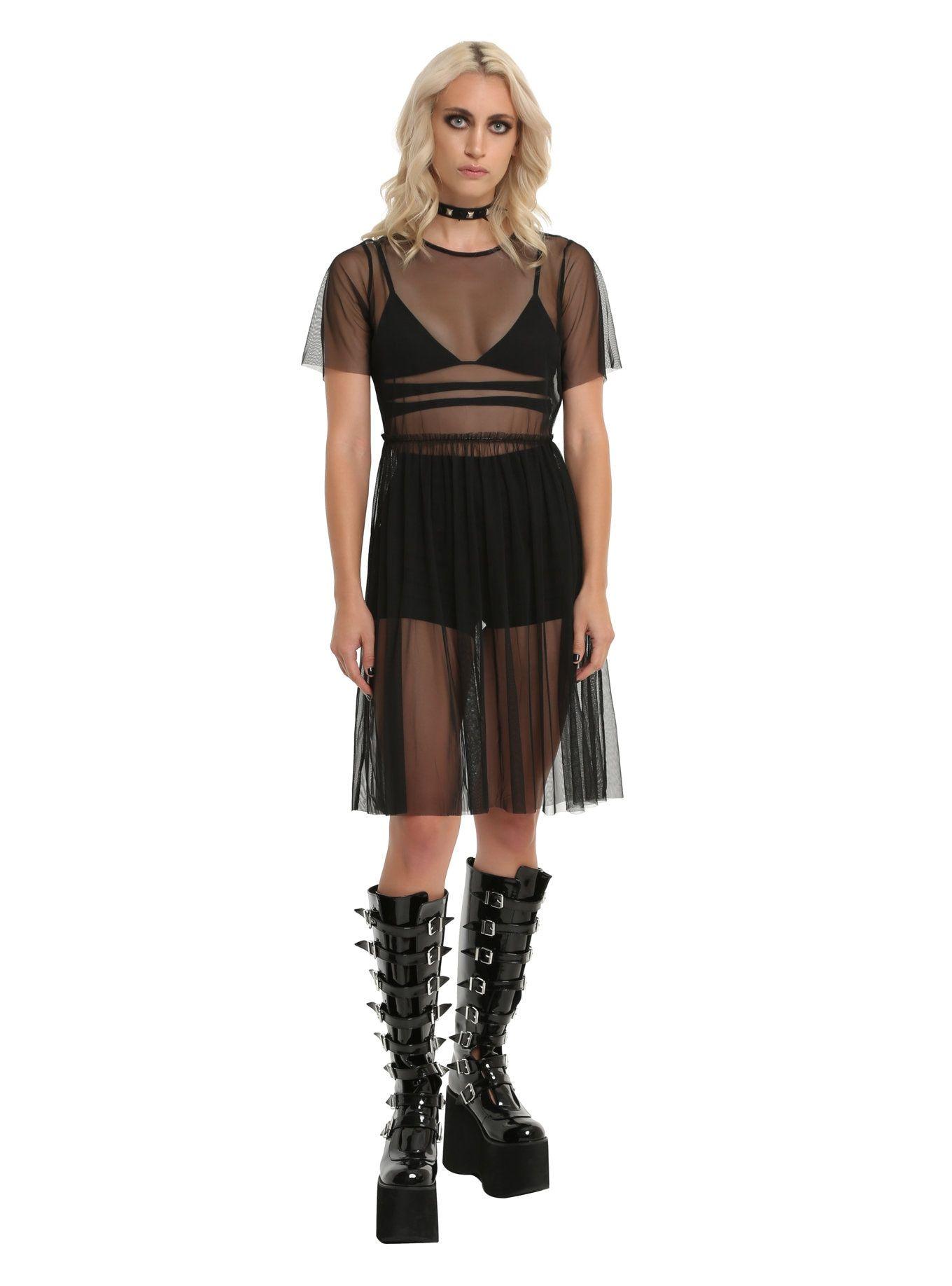 Black long mesh dress in kyra stone pinterest mesh dress