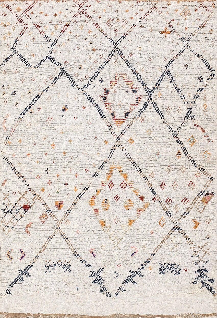 Rare Vintage Cotton Moroccan Rug 47914 Detail/Large View   By Nazmiyal