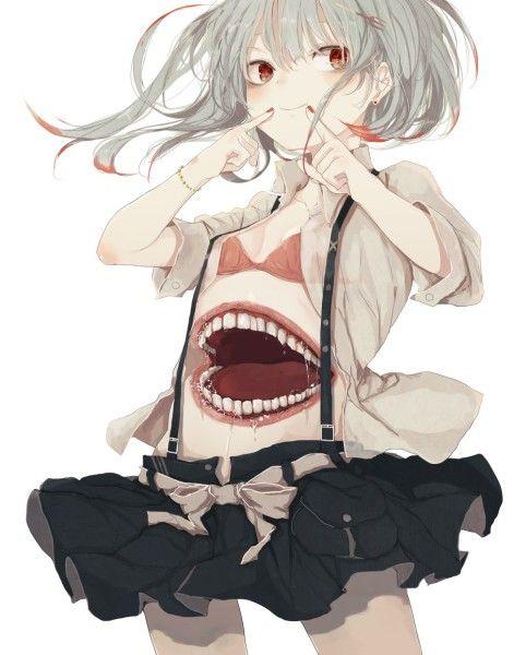 Девушка с красными глазами и белыми волосами аниме