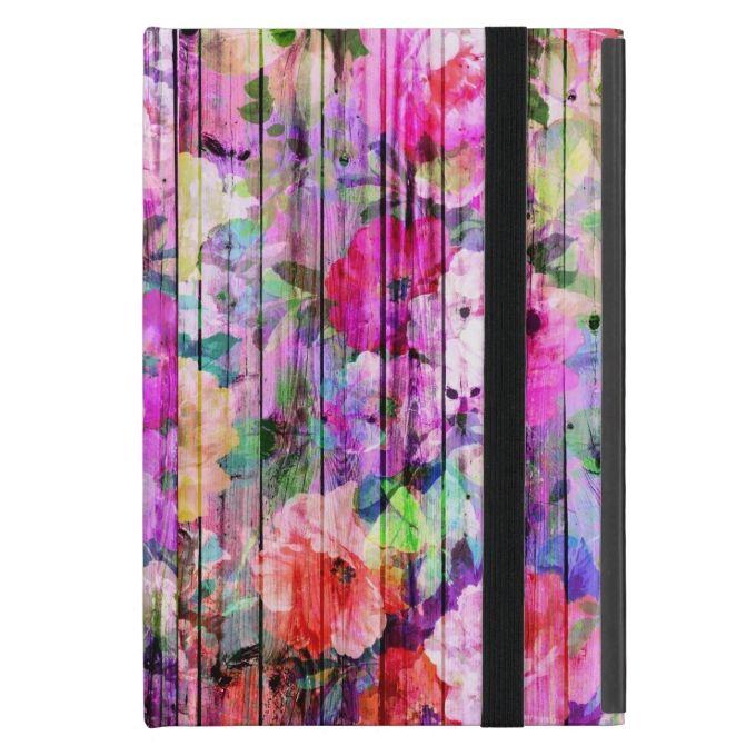 Vintage Bright Chic Floral Pattern Purple Wood iPad Mini Cover