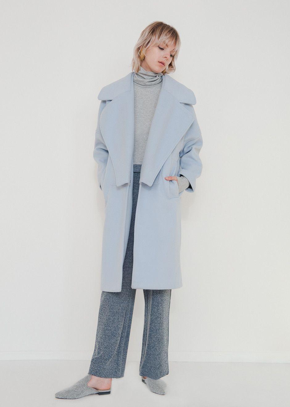 Light Blue Lapel Coat – The Frankie Shop