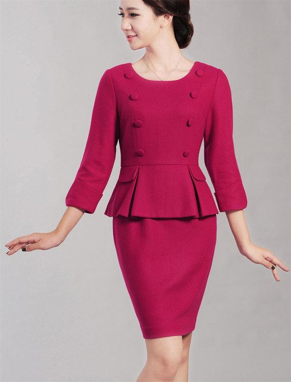 5d3bc9f790703 Rosa Vintage Vestido de madre del vestido de novia más tamaño vestido  Formal negocios vestido otoño
