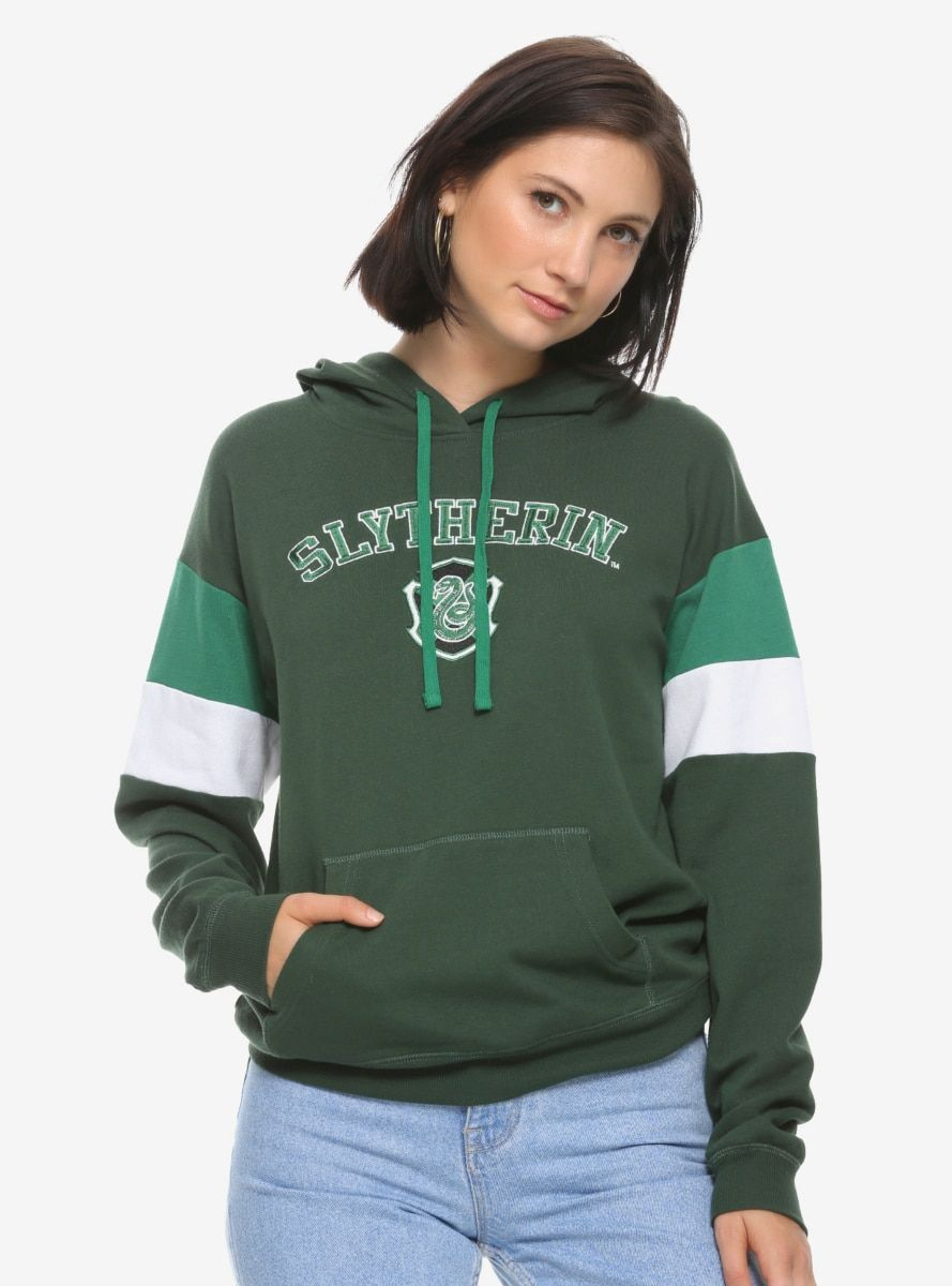 Harry Potter Slytherin Collegiate Women S Hoodie Boxlunch Exclusive Harry Potter Outfits Harry Potter Hoodie Hoodies Womens [ 1200 x 889 Pixel ]