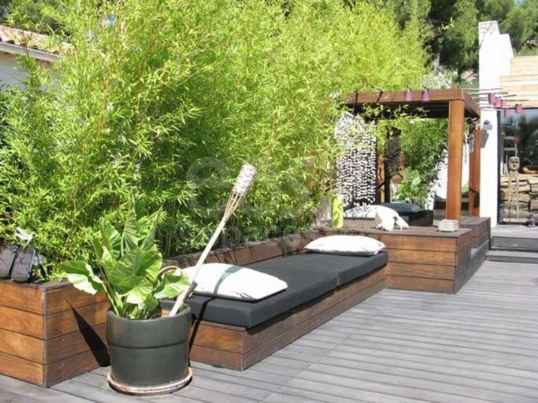 terrasse en bois avec bambous maison d \' architecte piscine ...