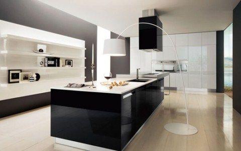 Glossy Black And White Kitchen Designs Cocinas, Cocina moderna y - cocinas pequeas minimalistas
