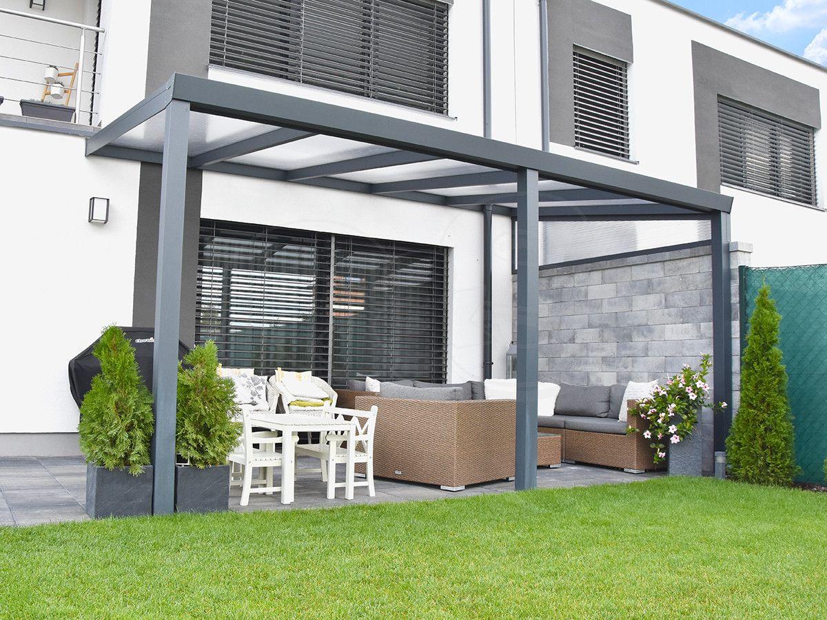 Moderne Terrassenüberdachung Aluminium in Anthrazit mit ...