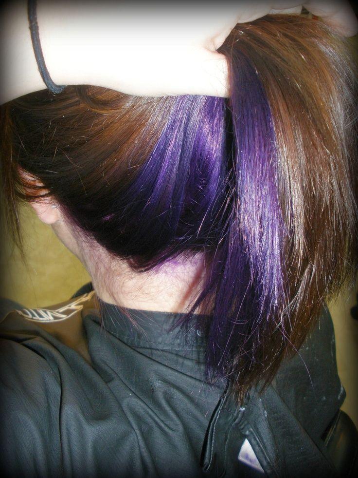 Purple Hair Underneath Dark On Top Google Search Purple Underneath Hair Purple Hair Underlights Hair
