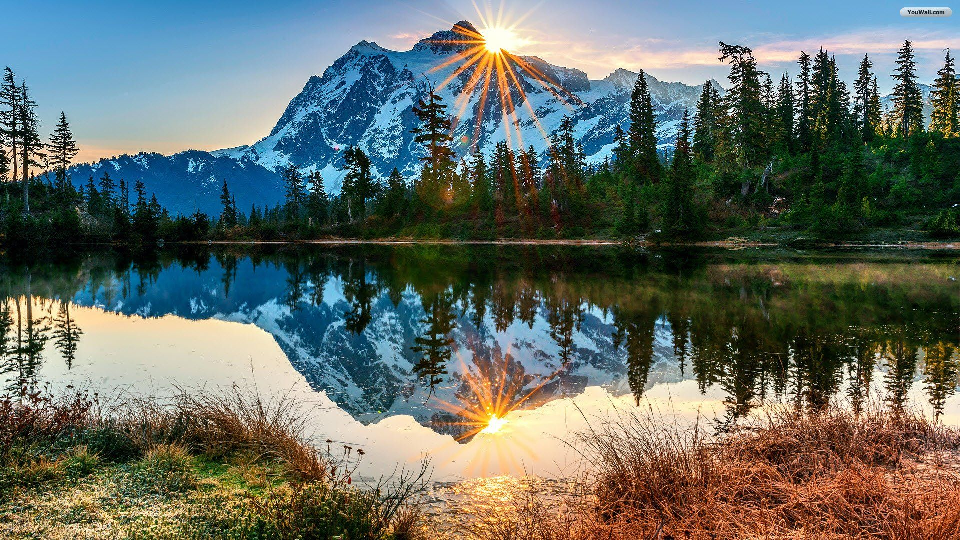 Sunny Mountain Lake Wallpaper Mountain Landscape Landscape