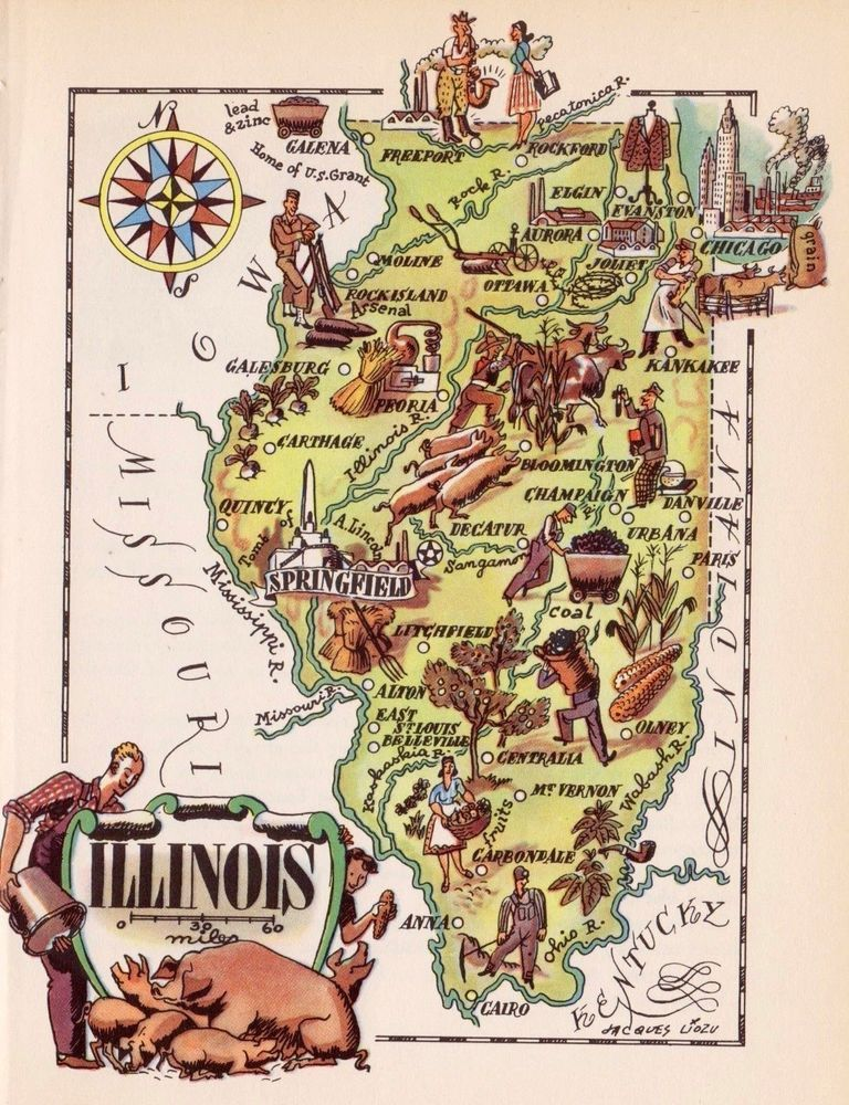 S Whimsical Vintage ILLINOIS Picture Map Antique Pictorial - Bloomington il on us map