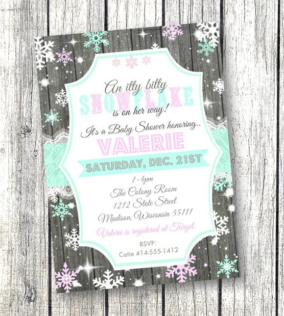 A little snowflake is on her way - baby shower invitation with wood lace teal and pink - gorgeous holiday / winter / Christmas invite!