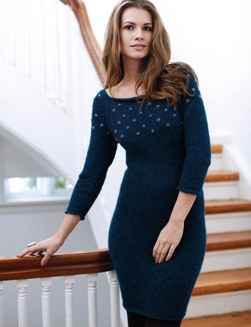 eaf02027df893d1 Синее платье с отделкой