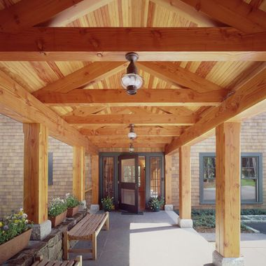 Exposed Beams Porch Design Ideas Pictures Remodel And Decor Porch Design Traditional Porch Breezeway