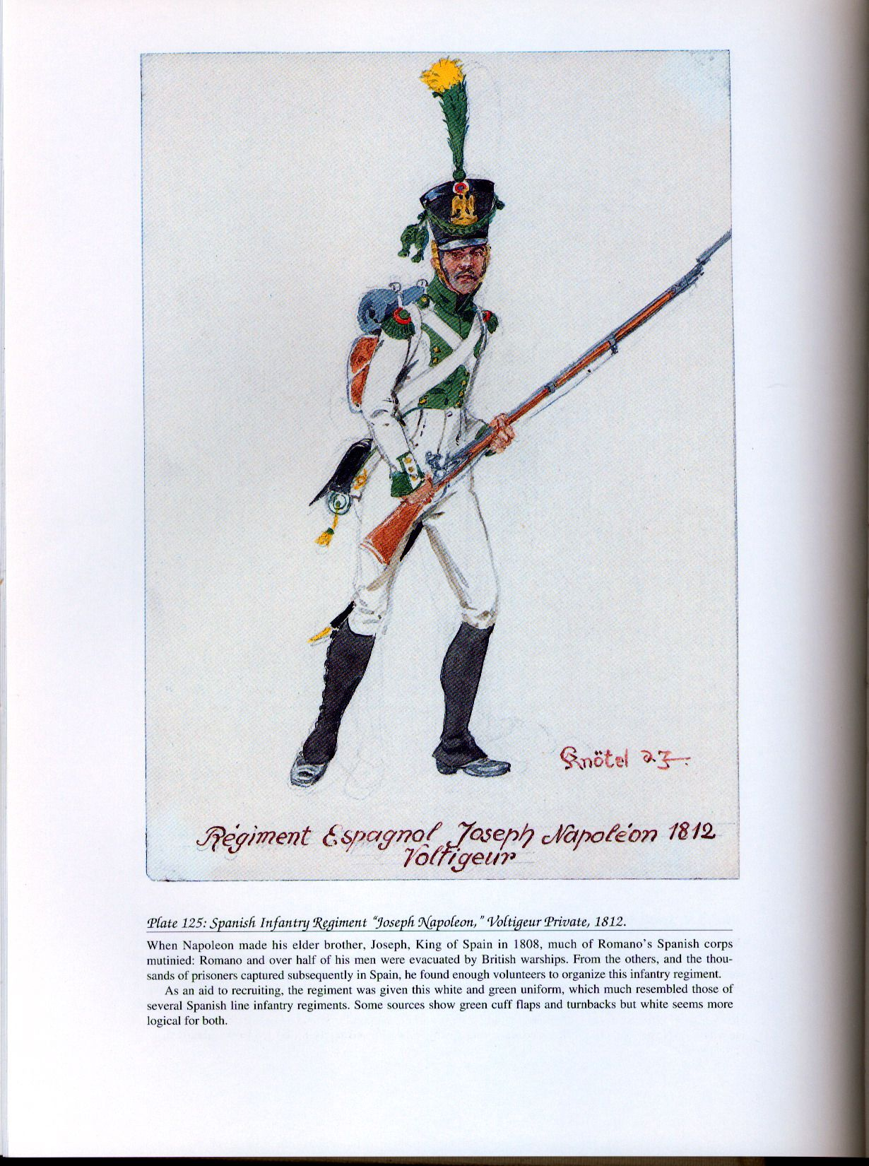 "Foreign Troops: Plate 125: Spanish Infantry Regiment ""Joseph Napoleon,"" Voltigeur Private, 1812."