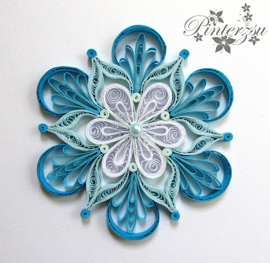 Quilled Snowflake By Pinterzsu Quilling Christmas 종이접기 border=