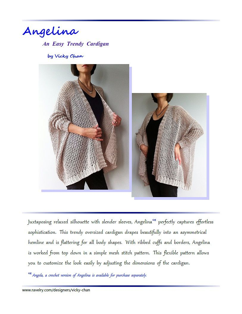 983c32412d5079 Ravelry  Angelina - easy trendy cardigan (knit) pattern by Vicky Chan