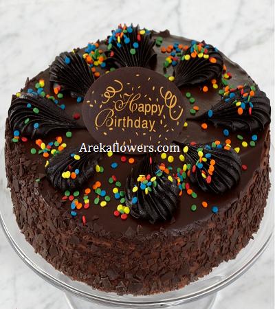 Chocolate Truffle Cake 2 Pound Areka Flowers Chocolate Truffle Cake Cake Truffles Happy Birthday Cakes
