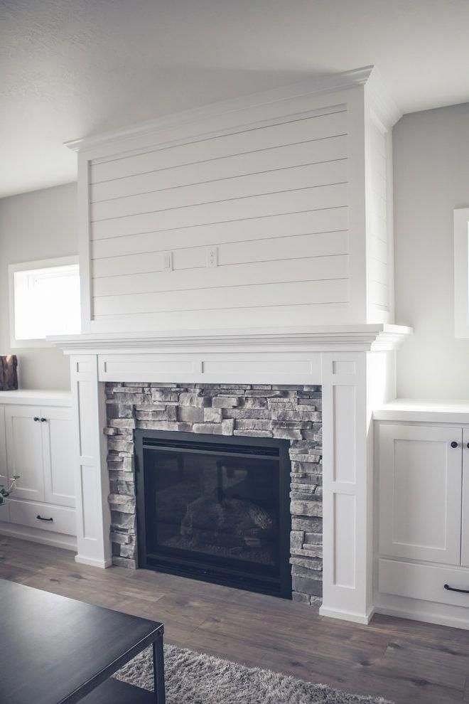 Image Result For Grey Stacked Stone Fireplace White Built Ins