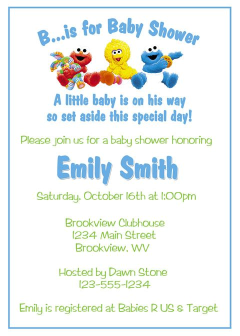 Sesame Street Baby Shower Ideas Sesame Street Baby Shower - printable baby shower invite