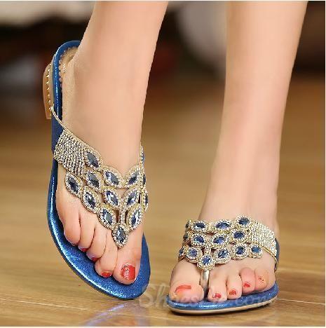 0d863557700f2 Amazing Blue PU Rhinestone Flat Heel Sandals