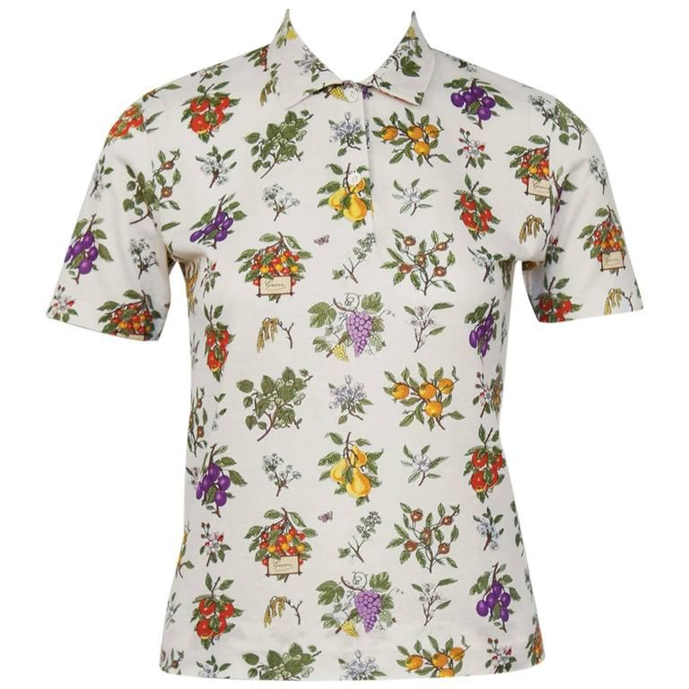 ce6f57e4 1970's Gucci Floral Polo Top | From a collection of rare vintage shirts at  https: