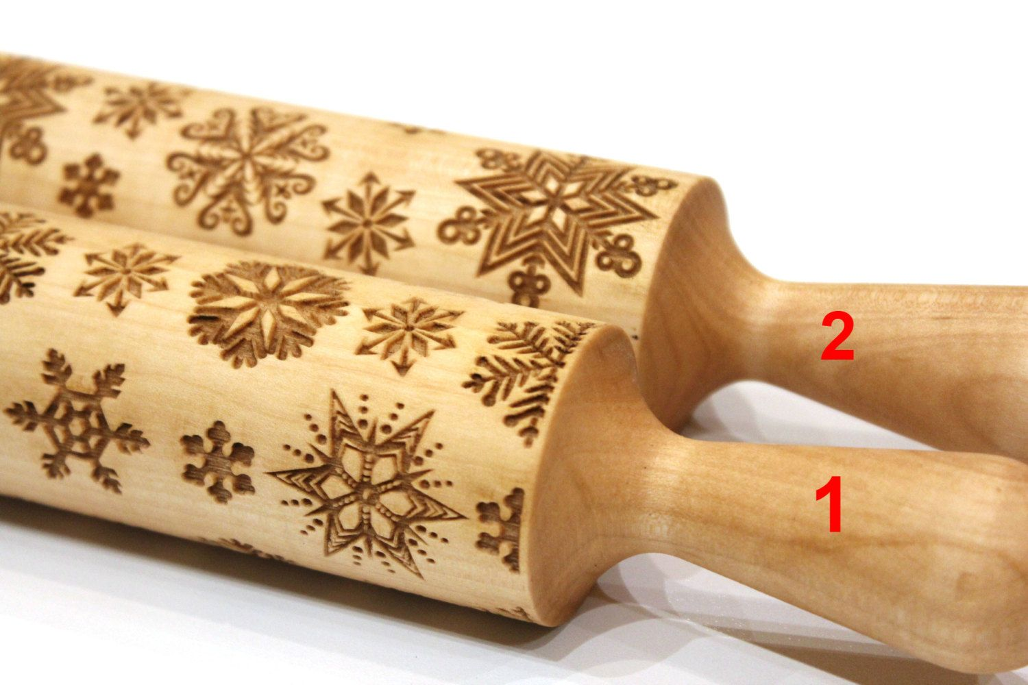 embossing rolling pin SNOWFLAKES rolling pin engraved rolling pin by laser
