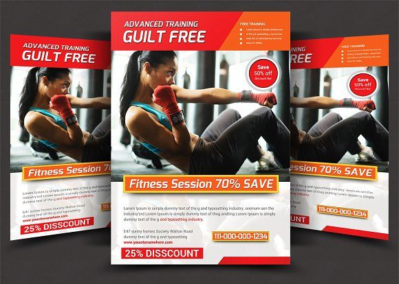 Fitness Flyer by AfzaalGraphics on @creativemarket DESIGN - fitness flyer template