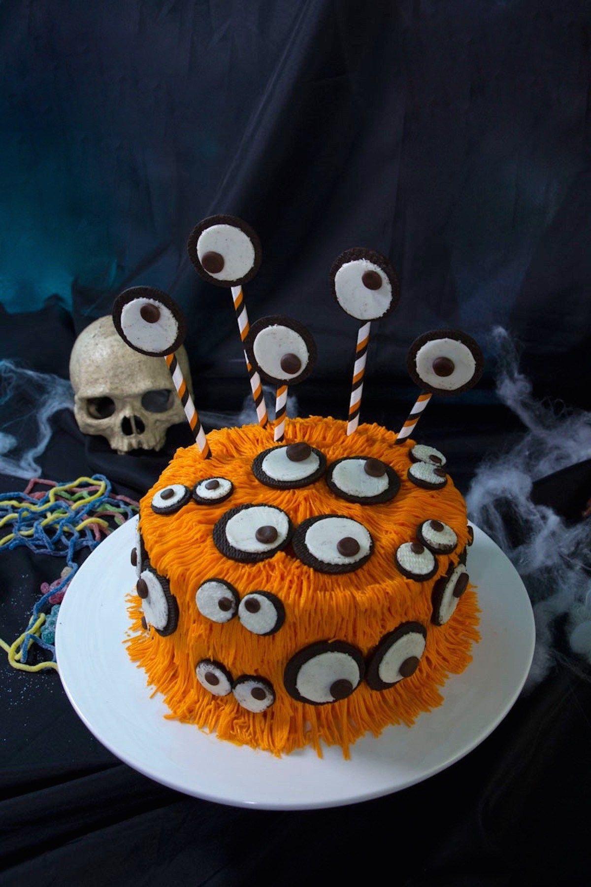 Halloween monster cake with oreos eyes halloween pinterest recette glacage gateau - Recette de gateau d halloween ...