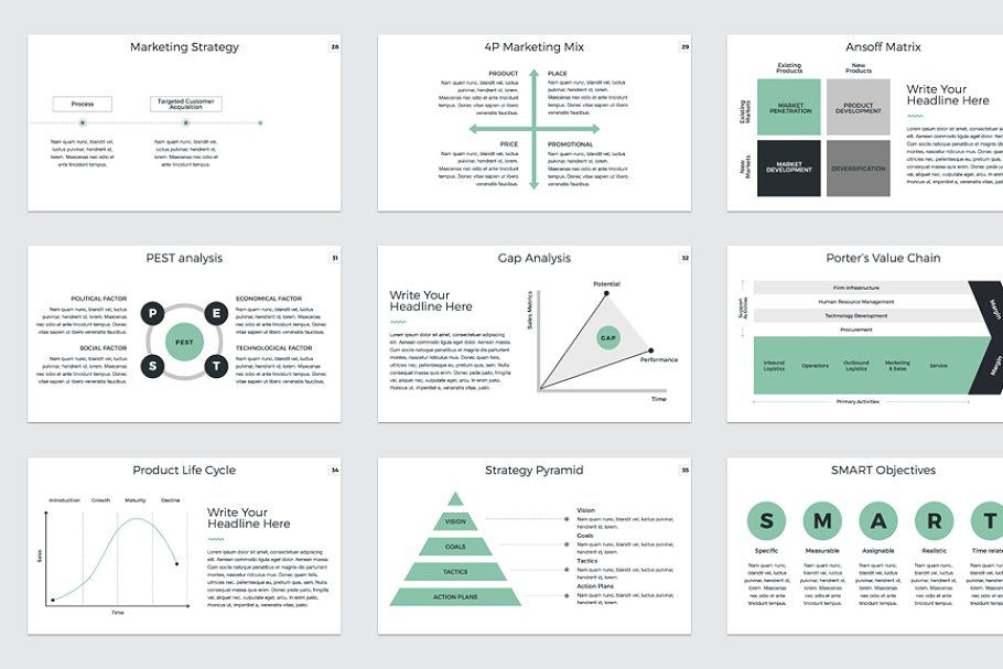 Ad Marketing Plan PowerPoint Template by CreativeSlides