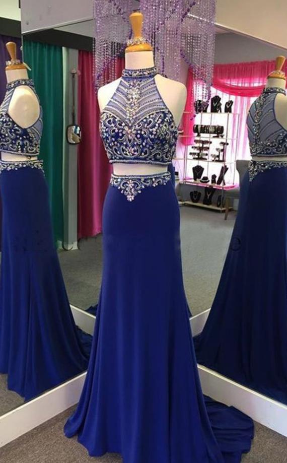 Royal Blue Chiffon Prom Dress