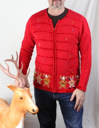 Ugly Christmas Sweater L Size Quacker Factory Crazy Eyed Deer
