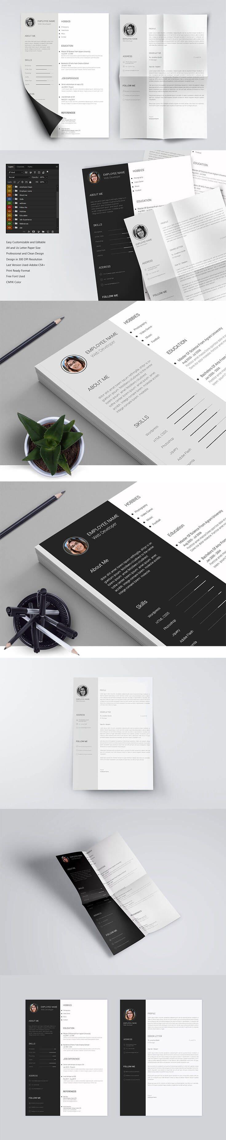 Free Minimo Minimal Resume PSD Template Minimal resume