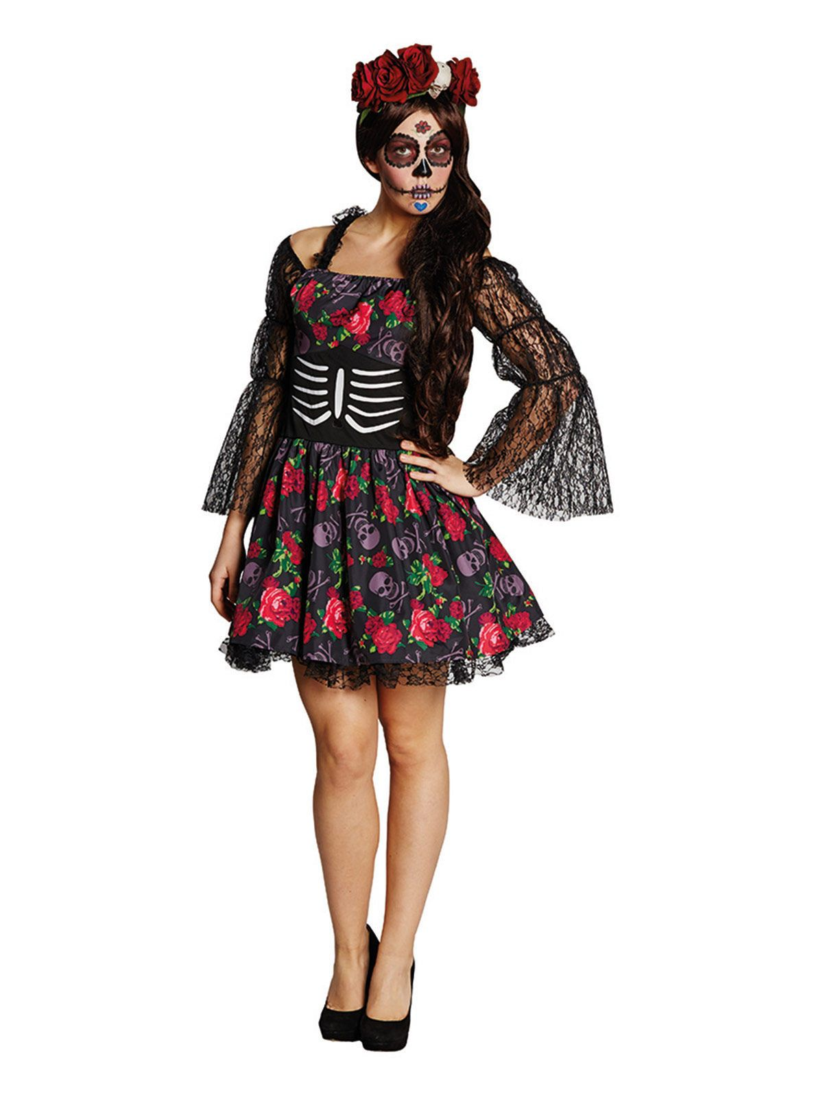Giorno dei morti BAMBOLA Donna Adulto Costume Halloween messicano standard