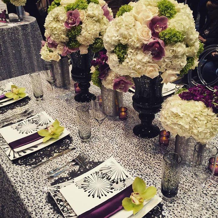 black white purple wedding reception%0A Want color in a black and white wedding  Try purple and green   Munaluchi  Bridal