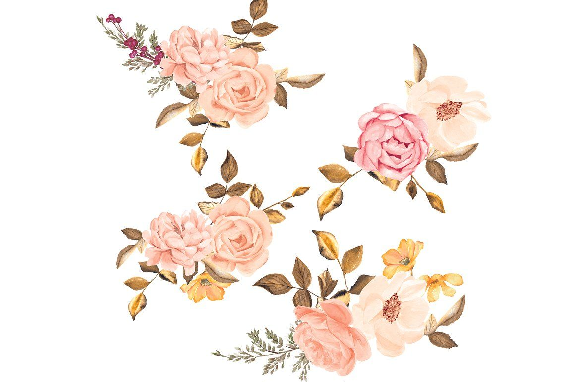 Watercolor Blush Gold Roses Clip Art Flower Clipart Blush Pink Rose Blush Gold Wedding