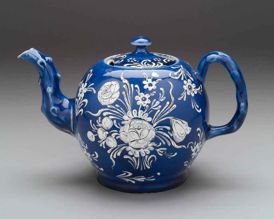 Weiße Teekanne blaue und weiße salzglasur teekanne englisch staffordshire ca