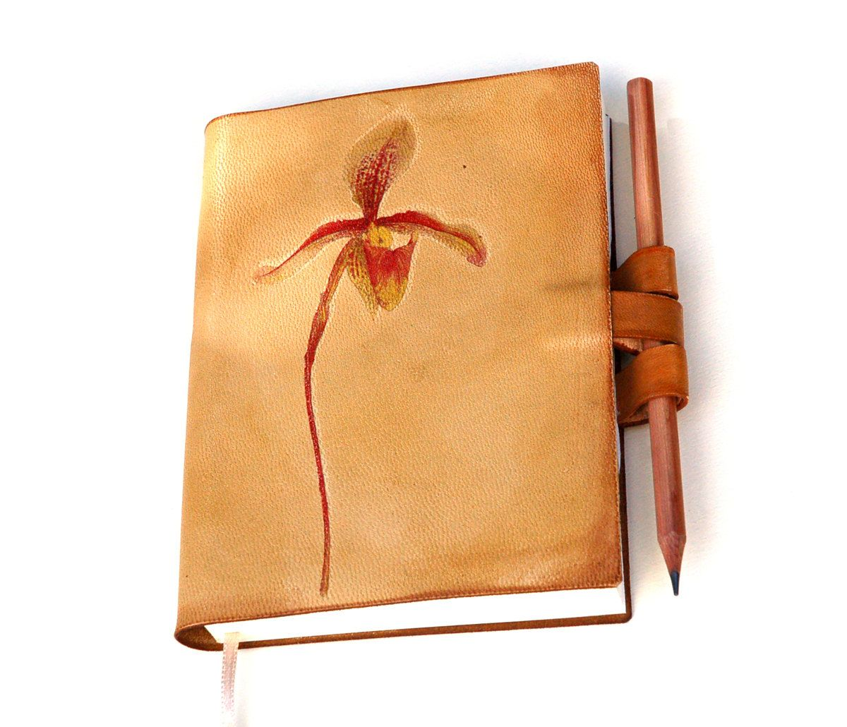 Spring Wild Orchid Leather Journal. $39.00, via Etsy.