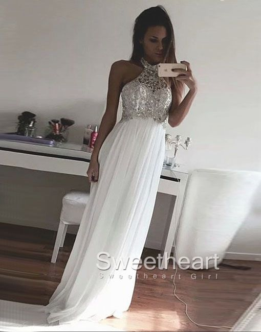 White Chiffon Sequin Long Prom Dress For Teens Formal Party Dress