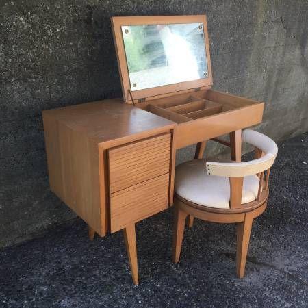 Mid-century modern vanity table and chair - $450 (Ballard)
