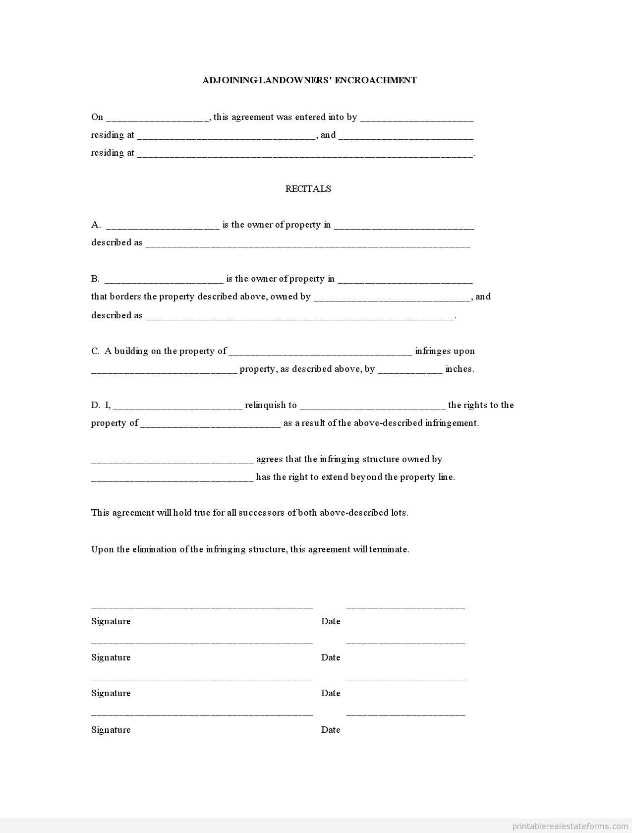 Sample Printable Adjoining Landowners Encroachment Form Printable
