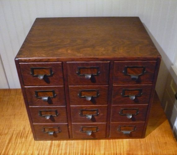 Library Card Catalog Antique Oak 12 Drawer File Cabinet made by Yawman and  Erbe - Library Card Catalog Antique Oak 12 Drawer File Cabinet Made By
