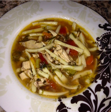 Homemade #chickensoup with homemade noodles